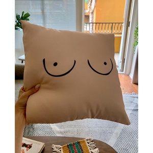 Trendy Feminist Boobs Throw Pillow Cover Minimal